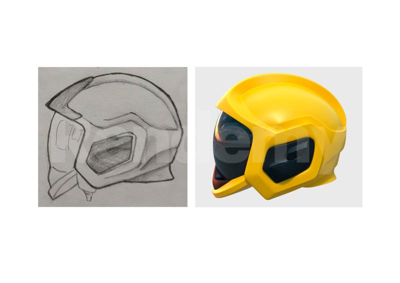 boceto y diseño 3d de un casco